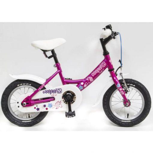 """Csepel Lily 12"""" gyermek kerékpár - Ciklámen, Unicornos mintával"""