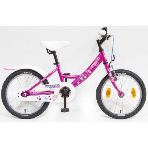 """Csepel Lily 16"""" gyermek kerékpár - Ciklámen, unicornis mintával"""
