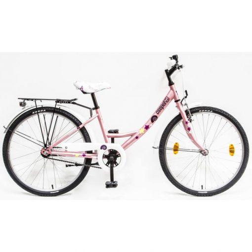 """Csepel Hawaii 24"""" gyermek kerékpár - Rózsaszín, csiga mintával"""