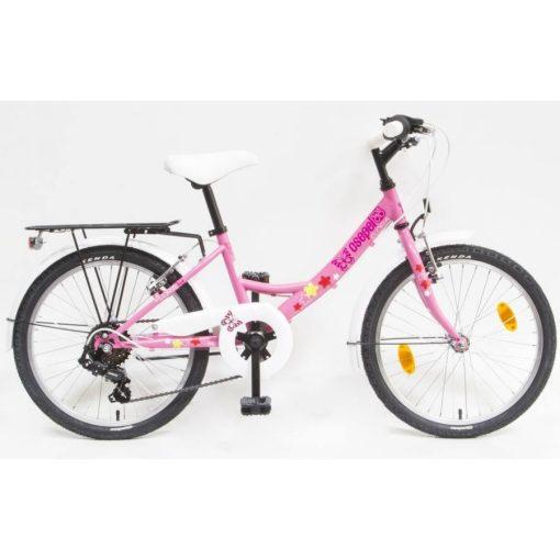 """Csepel Flora 20"""" gyermek kerékpár - Rózsaszín, pillangós"""