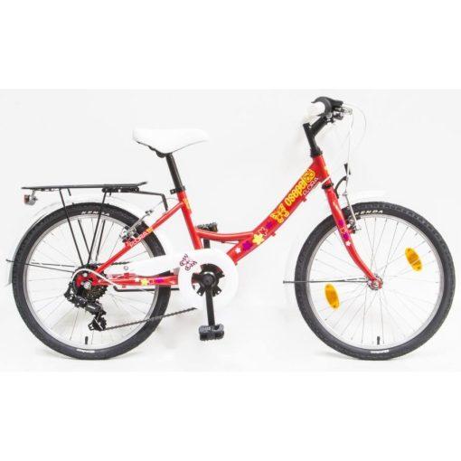 """Csepel Flora 20"""" gyermek kerékpár - Piros, pillangós"""