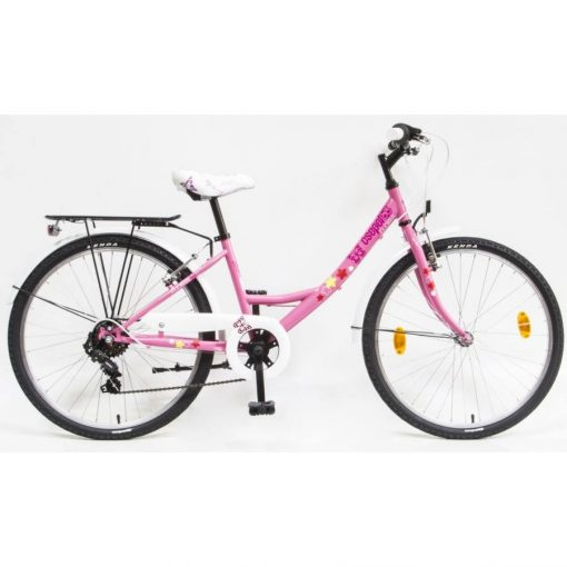 """Csepel Flora 24"""" gyermek kerékpár - Rózsaszín, pillangós"""