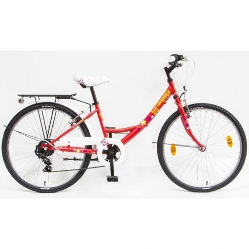 """Csepel Flora 24"""" gyermek kerékpár - Piros, pillangós"""