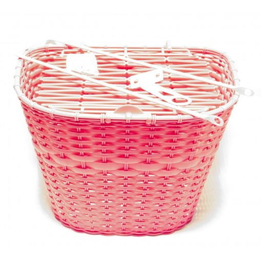 Műanyag Rattan hatású első kosár - Rózsaszín